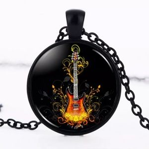Flaming Guitar Glass & Black Alloy Necklace